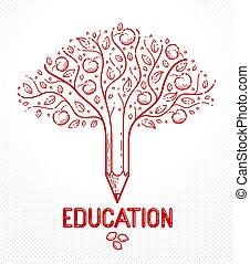 シンボル, ロゴ, ベクトル, 教育, 線である, consequences., 木, 美しい, 結合された, 鉛筆, フルーツ, アップル, ∥あるいは∥, スタイル, 種, 概念, 成果, icon.