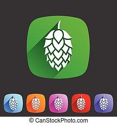 シンボル, ロゴ, ホツプ, 印, ビール, 平ら, 網, アイコン, ラベル