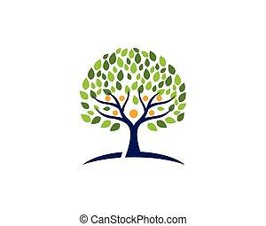 シンボル, ロゴ, 木, 家族, アイコン