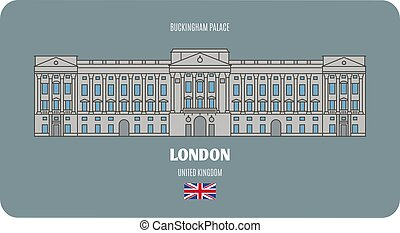 シンボル, ロンドン, 都市, 宮殿, uk., buckingham, 建築である, ヨーロッパ