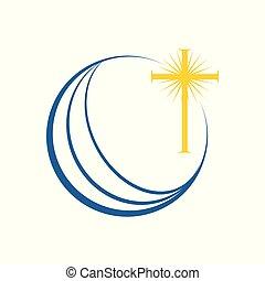 シンボル, 世界, 教会堂十字, デザイン, 世界的である, 啓発