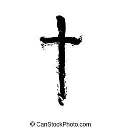 シンボル, 交差点, ペイントされた, キリスト教徒, ブラシ, 宗教
