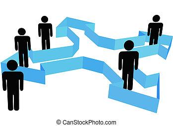 シンボル, 人々が中にいる, 構成, 矢, ポイント, 中に, 新しい, 方向