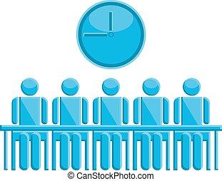 シンボル, 人々, ミーティング, 時間