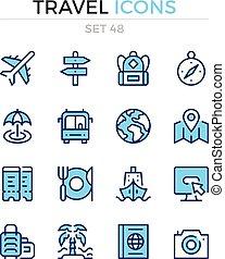 シンボル, 優れた, アウトライン, アイコン, 単純である, set., 現代, icons., ベクトル, pictograms., quality., 線, design., 旅行, 薄くなりなさい