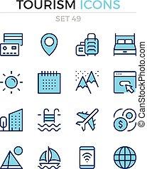シンボル, 優れた, アウトライン, アイコン, 単純である, set., 現代, icons., ベクトル, pictograms., quality., 線, design., 観光事業, 薄くなりなさい