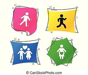 シンボル。, 動くこと, ベクトル, 人間の妊娠, icon., 女性