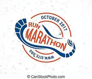 シンボル, 動くこと, ロゴ, マラソン, アイコン, ポスター, 操業