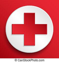 シンボル, 医学, ベクトル, 援助, ボタン, 最初に
