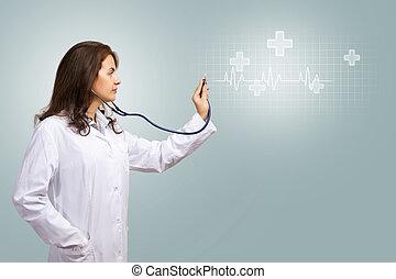シンボル, 医学, 聴診器, 明るい, 医者