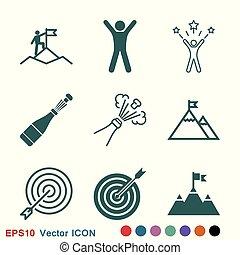 シンボル, 印, ベクトル, デザイン, 勝利, アイコン