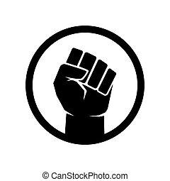 シンボル, 印, 黒, 生命, 上げられた, 握りこぶし, 問題