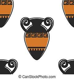シンボル, 古代, パターン, ギリシャ語, ギリシャ, seamless, 陶器, amphora