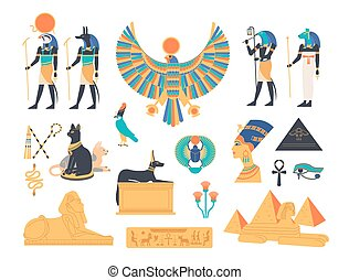 シンボル, 古代, illustration., 平ら, エジプト, 神, mythological, エジプト人, -, 動物, 宗教, ベクトル, 神, 神聖, 建築, コレクション, 神話, sculpture., 有色人種, 漫画, 生きもの