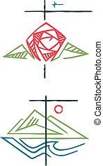 シンボル, 宗教, キリスト教徒, イラスト, インク