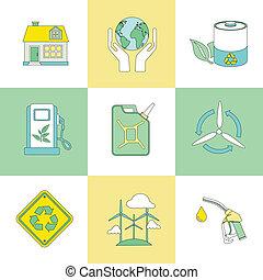 シンボル, 平らなライン, セット, エコロジー