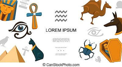 シンボル, 平ら, 概念, カラフルである, エジプト人