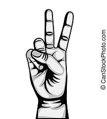 シンボル, 平和, 愛, 手