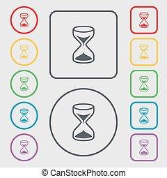 シンボル, 広場, frame., シンボル。, タイマー, 印, ボタン, 砂, ベクトル, icon., ラウンド, 砂時計