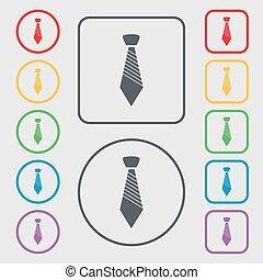 シンボル, 広場, frame., ビジネス, シンボル。, 印, ボタン, ベクトル, タイ, icon., ラウンド, 衣服