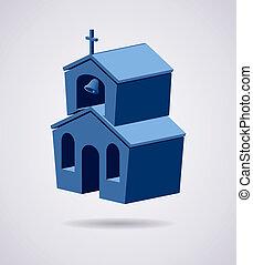 シンボル, 建物, 教会, ベクトル, 3d