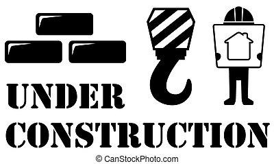 シンボル, 建設, 黒, 下に