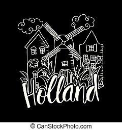 シンボル, 引かれる, holland., 手