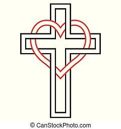 シンボル, 愛, ベクトル, 心, 信頼, キリスト教徒, 交差点, god., 巻きつく
