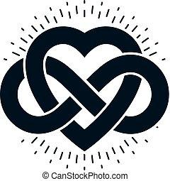 シンボル, 愛, ベクトル, 無限点, 印, 作成される, 概念, 不朽, ループ, heart.