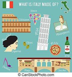 シンボル, 旅行, set., イタリア, 有名, 場所