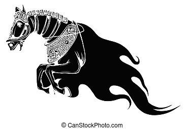 シンボル, 明るい, 火, 種馬, 燃えている, mane., ∥あるいは∥, 赤い馬, 怒る, オレンジ, 頭, 悪魔