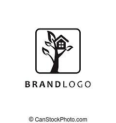 シンボル, 木の家, ベクトル, ロゴ
