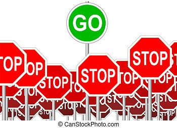 シンボル, 止まれ, 隔離された, 印, サイン, 行きなさい, 進歩