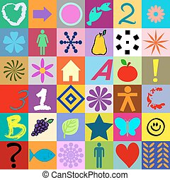 シンボル, 正方形, カラフルである, seamless