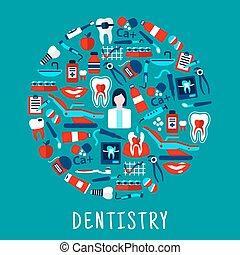 シンボル, 歯科医術, 歯科医, ラウンド, アイコン