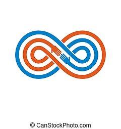 シンボル, 永久に, バックグラウンド。, ベクトル, 概念, 友情, 隔離された, 白, 永遠である, 友人