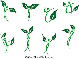シンボル, 環境, エコロジー, 緑, 人々