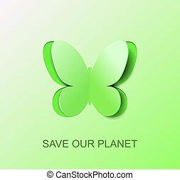 シンボル, 環境, ペーパー, 緑, きれいにしなさい, 蝶