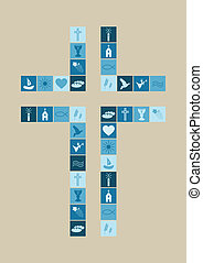 シンボル, 男の子, 宗教, 交差点