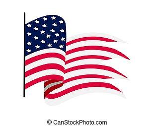 シンボル, 白旗, イラスト, 波状, 国民, america., 州, 振ること, アメリカ人, flag., 背景, -, 合併した, ベクトル
