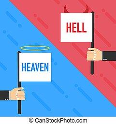 シンボル。, 白, ベクトル, ∥あるいは∥, ひどく, バックグラウンド。, 地獄, 天使, illustration., よい, 悪魔, heaven.