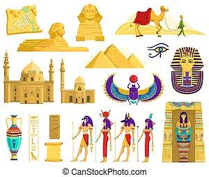 シンボル, 白, ベクトル, 建築, エジプト, 古代, イラスト, ランドマーク, 考古学, 隔離された