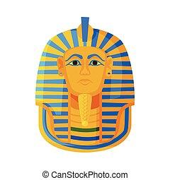 シンボル, 白, マスク, 平ら, スタイル, ツタンカーメン, ベクトル, イラスト, ファラオ, 金 背景, エジプト