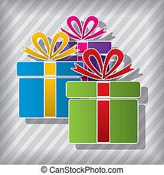 シンボル, 箱, ベクトル, 贈り物