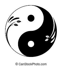 シンボル。, 統一, yin - yang, 男らしい, leaves., 抽象的, シンボル, ベクトル, アイコン, yang, 装飾用である, 小枝, yin, feminine.