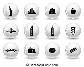 シンボル, 網, ヨーク, ボタン, 新しい