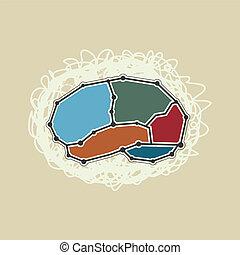 シンボル, 脳, 抽象的, スタイル, レトロ