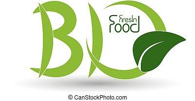 シンボル, 自然, 自然, ベクトル, bio, 葉, アイコン