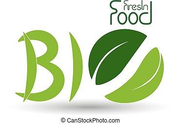 シンボル, 自然, 自然, 食物, ベクトル, bio, 新たに, 葉, アイコン