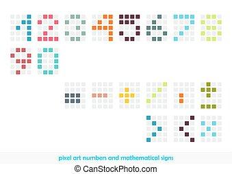 シンボル, 芸術, ピクセル, 数